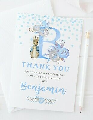 10 Personalised Peter Rabbit Initial Thank You Cards Pink/Blue Christening