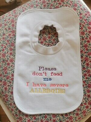 I Have Allergies Embroidered Baby Bandana Dribble Bib Gift Alert Allergy Food