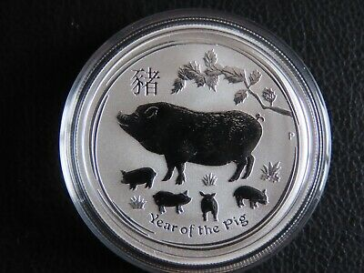 2019 1/2 oz ounce Perth mint Lunar Year of the Pig 999.9 pure silver coin NEW