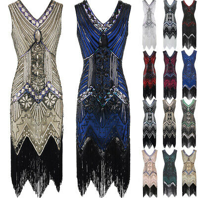 Plus Size Vintage 1920s Flapper Tassel Great Gatsby Evening Party Cocktail Dress