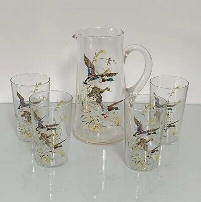 Vintage Flying Geese Glass Jug and 4 Tumbler Glasses - Hand Painted