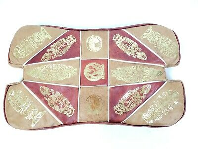 Egyptian Stool Saddle Leather Vintage Antique Red Gold Ornate Cushion