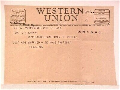 "Vintage ""Just Got Married"" Western Union Telegram March 31, 1945"