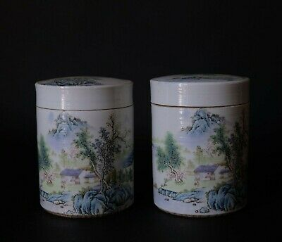 Pair of Large Beautiful Chinese Landscaping Round Boxes with Lids