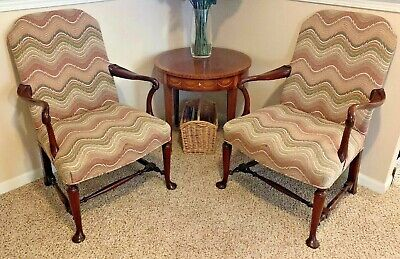 Pair Hickory Chair Solid Mahogany Queen Anne Style Arm Chairs
