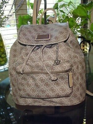 5d41aadb1 Guess Logo Signature Beige Brown Drawstring Backpack Book Bag**Nice**L@