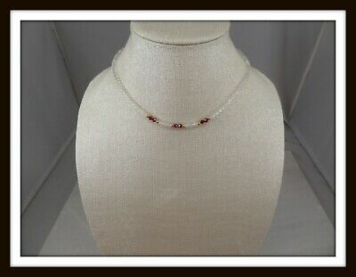 Vintage Clear & Ruby Red Faceted Glass Petite Necklace #4258