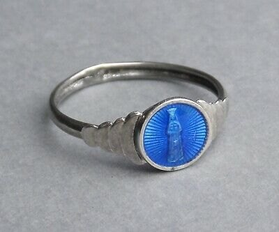 French, Antique Religious Enamel Silver Ring. Virgin Mary, Our Lady of Pontmain.