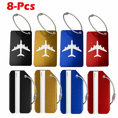 8 X Travel Luggage Tag Metal Suitcase Baggage Bag Office Name Address ID Label