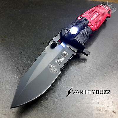 EDC Pocket Folding Blade TAC-FORCE SPRING ASSISTED LED RED FIRE FIGHTER KNIFE