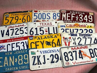 Vintage Lot Different States License Plates (Before 2011) Man Cave Decor