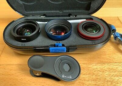 Sirui 3 lens set. 60mm telephoto, 18mm wide, and Fisheye. Fits Moment Cases