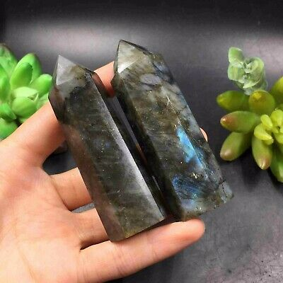 MAGIC-152g 2pcs Natural Labradorite wand Point Healing Reiki O1960