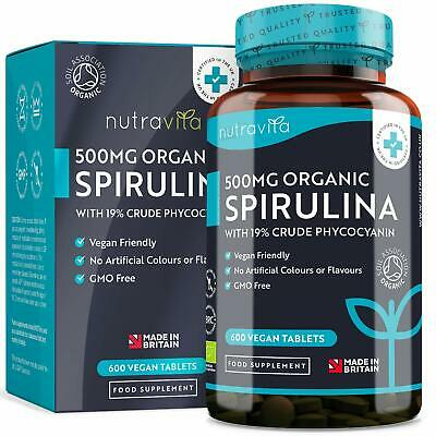 Organic Spirulina 500mg with 19% Crude Phycocyanin - 600 Vegan Friendly Tablets