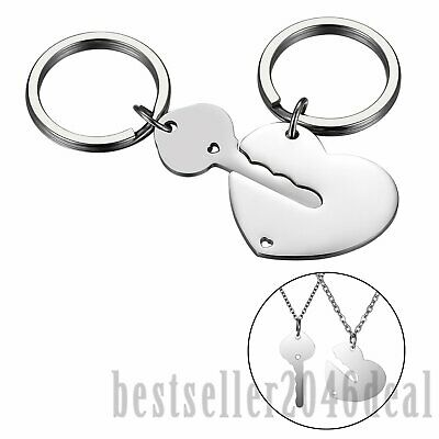 His and Hers Couple Key Heart Lock Stainless Steel Keychain Necklace Engraving