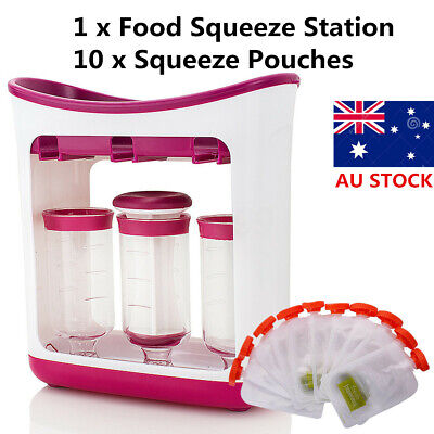AU Fresh Food Squeezed Squeeze Station Baby Weaning Puree Reusable Pouches Maker