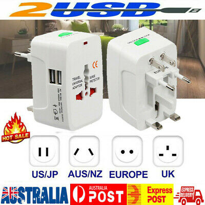 International Universal Travel Power Adaptor Converter AU/UK/US/EU 2 USB Charger