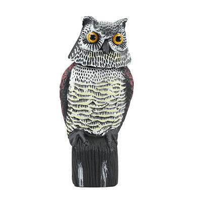 Hot 360° Rotating Head Fake Owl Field Lawn Protection Repellent Bird Scare