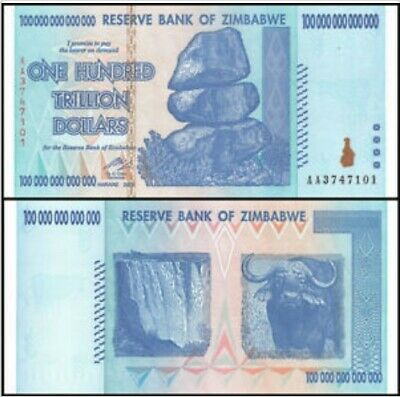 Zimbabwe 100 Trillion Dollars 2008 AA series Banknote Uncirculated,