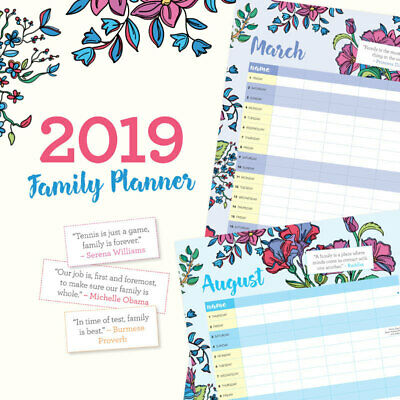 Family Planner 2019 Wall Calendar by Paper Pocket 30x30cm Free Post (NEW)