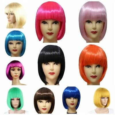 Femmes cheveux perruque BOBO Cosplay Full Wigs Hair Short Straight Wig FR