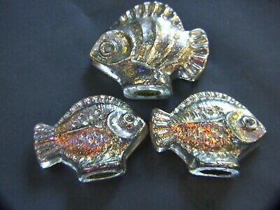 Modern Art Glass Crystal RIKARO 3 Fish Set  Miniatures Made Czech Republic Vnt.