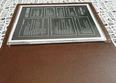 New A4 Size Contemporary Stitched Faux Leather Menu Holder Elastic in Spine