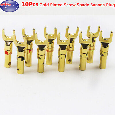 10x Gold Plated Spade Terminal Banana Plugs Audio Adapter Wire Connector AU
