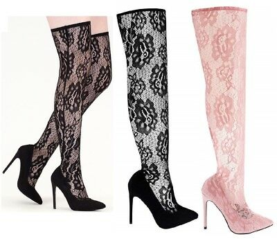 Womens Ladies Stretch Thigh High Over The Knee Stiletto Heel Pull On Sock Boots