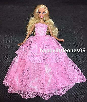 Embroidered Barbie Doll Wedding Party Evening Dress/Clothes/Outfit Pink BrandNew