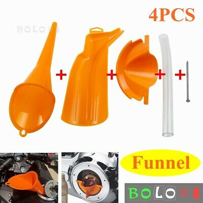 Plastic Filling Funnel Oil Catcher Drain Oil Funnel w/ Soft Pipe Tool Fit Harley