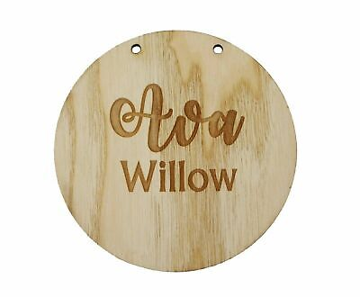 Personalised Newborn Baby Name Gift Sign Engraved Wooden Baby Name Plaque Hanger