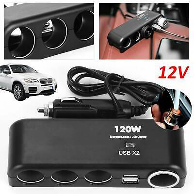 12v 4 Way Car Cigarette Lighter Power Socket Charger Adapter Dual USB Port Twin
