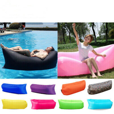 Inflatable Air Sofa Bed Lazy Sleeping Beach Chair Hangout Camping Lounger