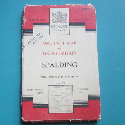Ordnance Survey One - Inch Map Of Spalding 1954 Map, Number 123.