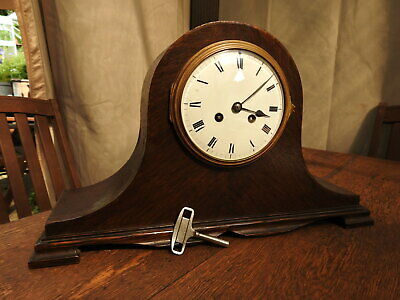 VINCENTI Oak Cased Chiming 8 Day Napoleon Mantel Clock JAPY FRERES Enamel Dial