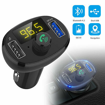 Wireless QC3.0 USB Fast Car Charger Bluetooth 4.2 FM Transmitter Receiver MA1923