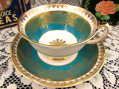 Royal Grafton Gold Gilt Daisy Turquoise Floral Tea Cup And Saucer