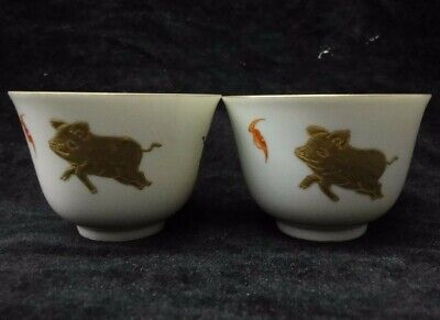 """Pair of Chinese Antique Hand Painting Porcelain Cups Marked """"YongZheng"""""""