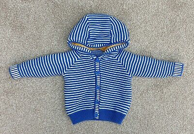 Blue & White Stripe Knitted Hooded Cardigan Mothercare Size 0-3 Months Ex Cond