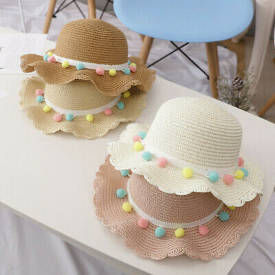 Toddler Baby Kids Girls Summer Breathable Sun Tassel Balls Straw Hat Beach Cap