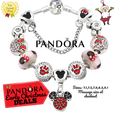 Authentic Pandora Bracelet Silver Disney Minnie Mickey Red with European Charms