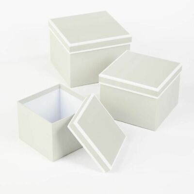 SET OF 3 SQUARE OASIS COUTURE LINED HAT BOXES GREY Flowers Gifts Crafts storage
