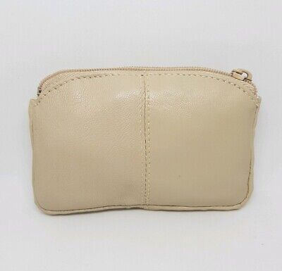 Ladies Small Coin Purse Mini Bag Hearing Aid Pouch Genuine Leather Beige *121