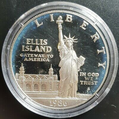 1986 S US Statue of Liberty PROOF Silver Dollar Coin in Mint Capsule....