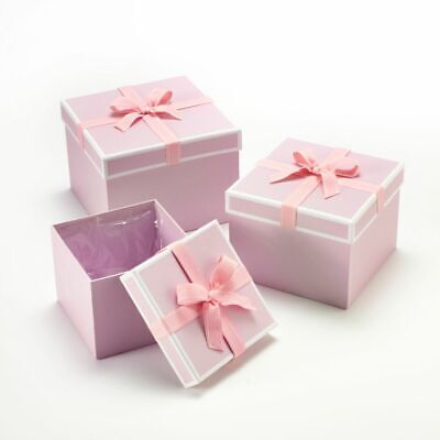 SET OF 3 SQUARE OASIS STEPHY LINED HAT BOXES PINK BOW Flowers Gifts Crafts
