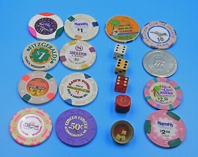 LOT of 8 MS CASINO CHIPS & 5 Other CASINOS & Small Dice