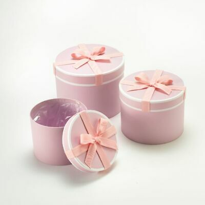 SET OF 3 ROUND OASIS STEPHY LINED HAT BOXES PINK BOW Flowers Gifts Crafts