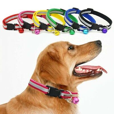 Dog Collars Pet Cat Kitten Glossy Reflective Puppy Buckle Collar With Bell AU