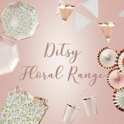 Rose Gold Ditsy Floral Party Range Birthday Tea Party Wedding